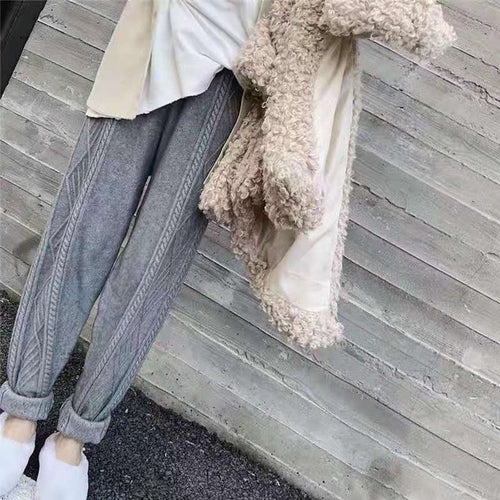 Elastic Waist Twist Radish Wool Pants