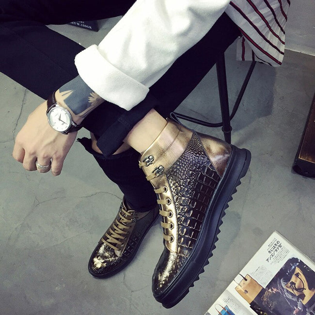Fashion Crocodile Pattern Men Martin Boots