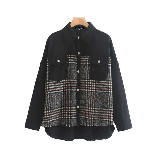 Vintage Stylish Plaid Patchwork Pockets Oversized Jacket Coat