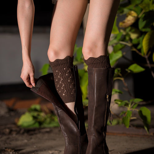 1 Pair Cute Soft Lace Acrylon Crochet Hollow Knit Boot Socks