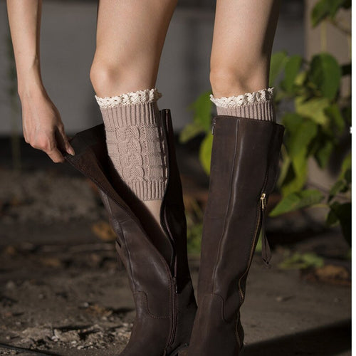 Women Knit Lace Boot Socks