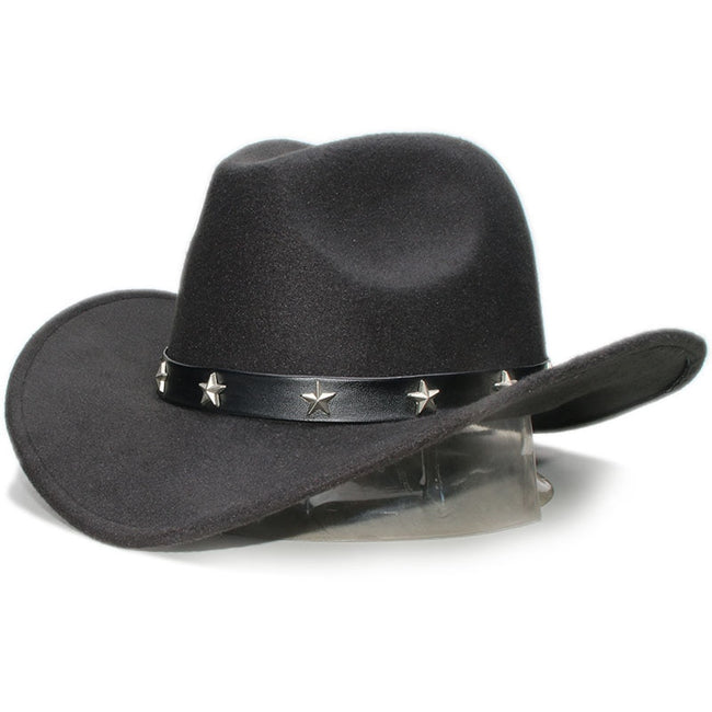 Retro Star Leather Wool Wide Brim Western Cowboy  Cowgirl Bowler Cap