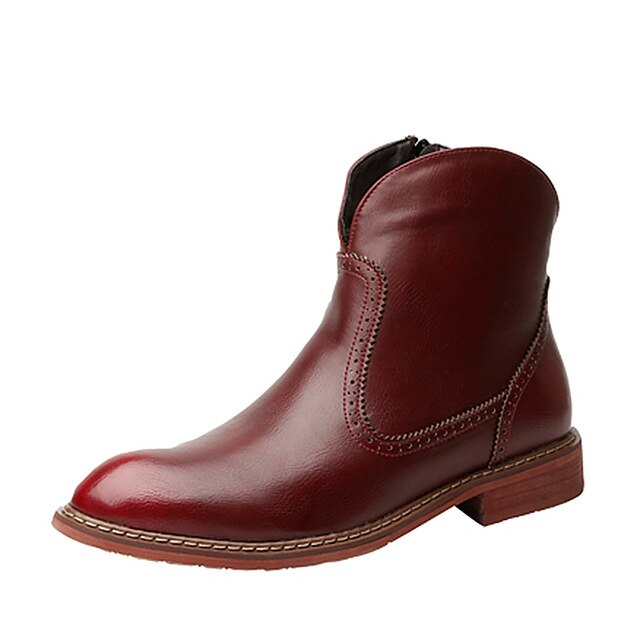 Fashion Men Zipper Solid Leather  Chelsea Boots