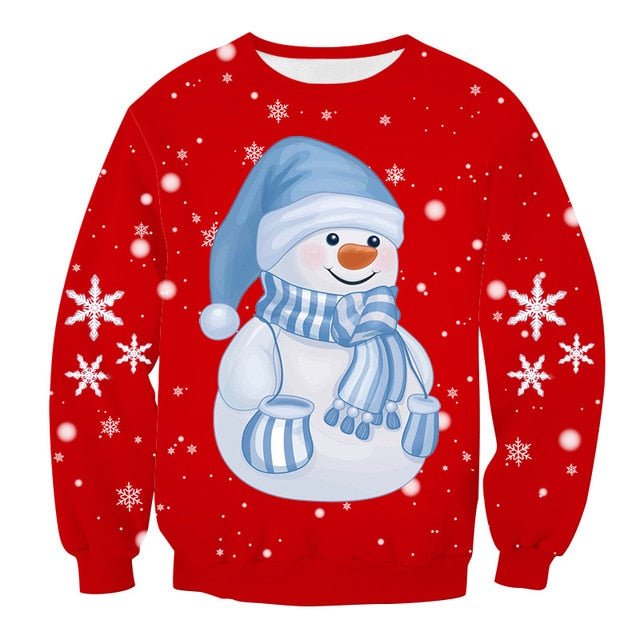Christmas Sweater 3D Printed Snowman Christmas Party Sweatshirt