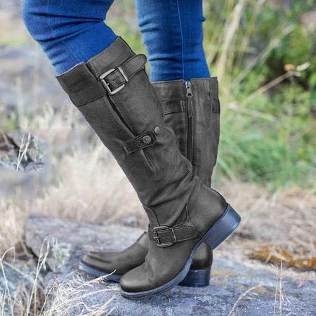 Buckle Button Round Toe Vintage Zipper High Boots