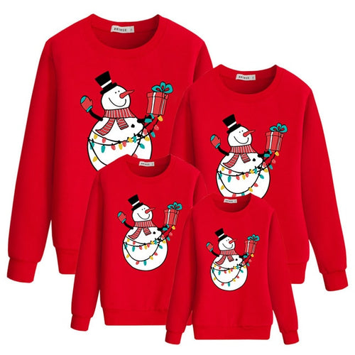 Christmas Sweatshirts Red Snowman Print Fashion Family Outfit