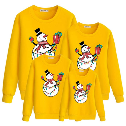 Christmas Sweatshirts Yellow Snowman Print Fashion Family Outfit