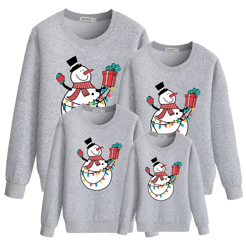 Christmas Sweatshirts Grey Snowman Print Fashion Family Outfit