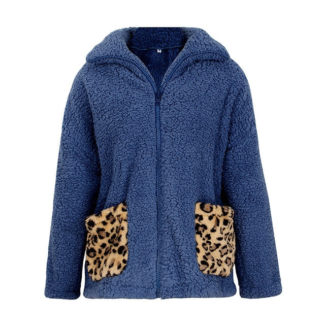 Winter Women's Warm Leopard Pattern Thicken Sexy Faux Fur Teddy Coat