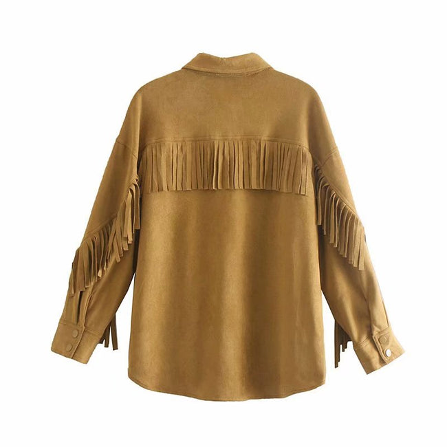 Women Vintage Stylish Faux Suede Fringed Jacket Coat