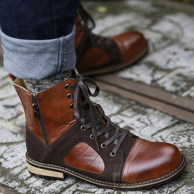 Fashion Men Lace Up  Ankle Leather Boots