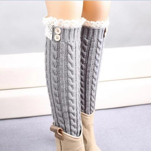 1 Pair Warm Knitted Socks To The Knee Women Leg Warmers Knitting Gaiters