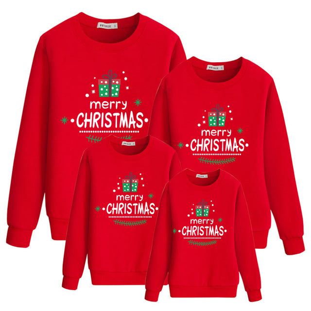 Merry Christmas Red Fashion Family Matching Clothes Sweatshirt