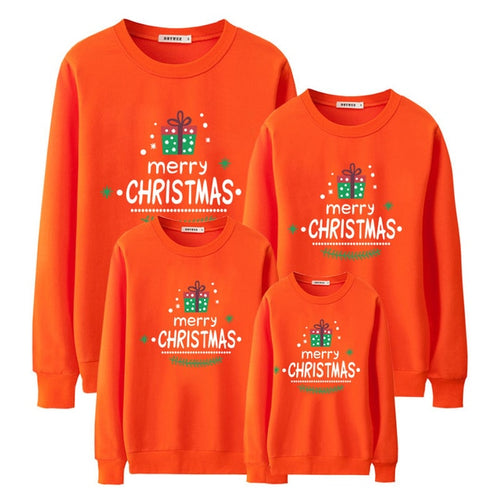 Merry Christmas Orange Fashion Family Matching Clothes Sweatshirt