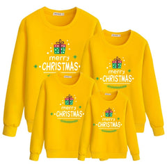 Merry Christmas Yellow Fashion Family Matching Clothes Sweatshirt