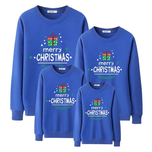 Merry Christmas Blue Fashion Family Matching Clothes Sweatshirt