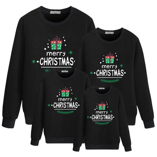 Merry Christmas Black Fashion Family Matching Clothes Sweatshirt