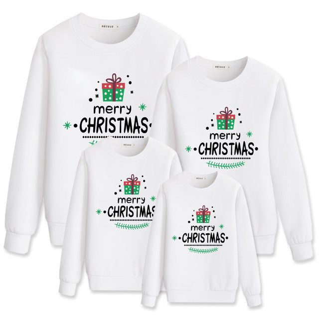 Merry Christmas White Fashion Family Matching Clothes Sweatshirt