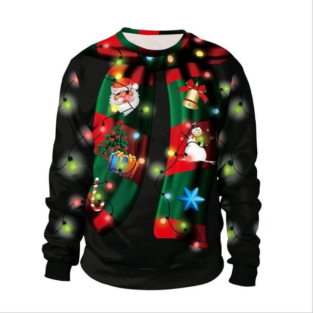 Christmas 3D Funny Print Autumn Winter Pullover Sweatshirt