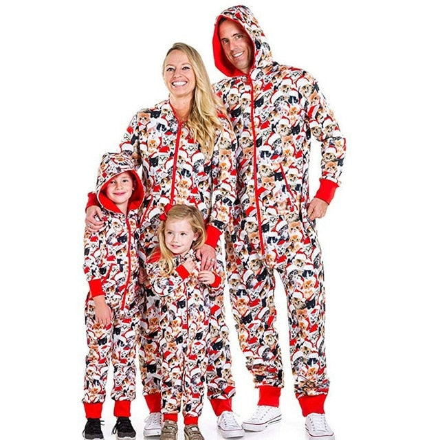 Christmas New Happy Cat Hoodie pajamas