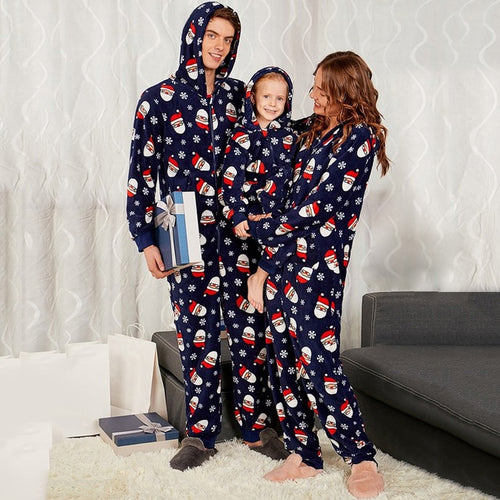 Santa Patterned Hooded Family  christmas pajamas