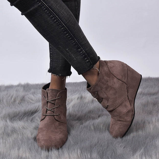 Women High Heels Lace-Up Wedges Vintage Ankle Boots