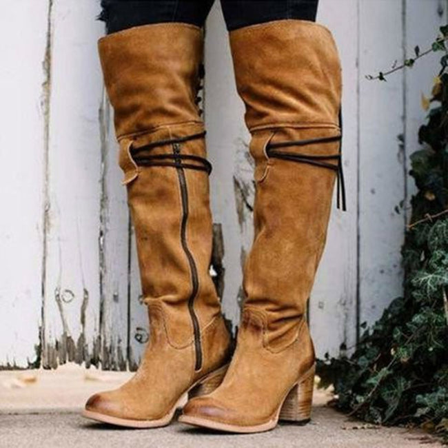 Women Lace-Up High Heels Over Knee High Boots