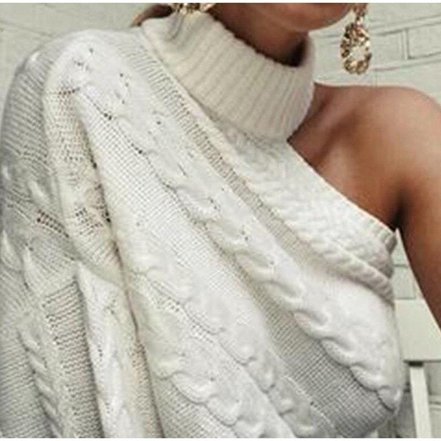Sexy One Shoulder Twist Knitted Turtleneck Sweaters