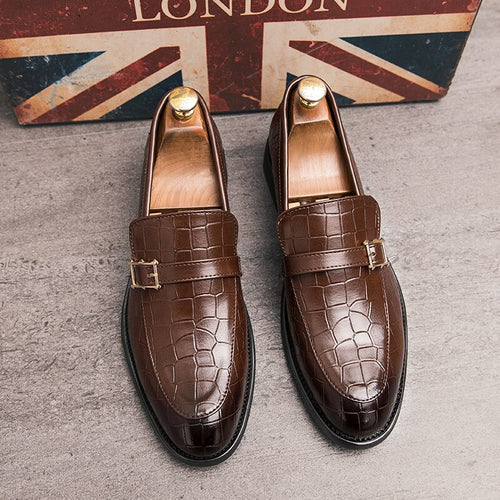 Italy Crocodile Pattern Buckle Men Formal  Shoes