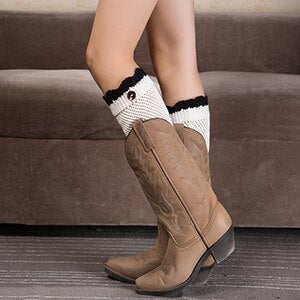 1 Pair Women Knitted Leg Warmers Boot Cover Keep Warm Knit Socks