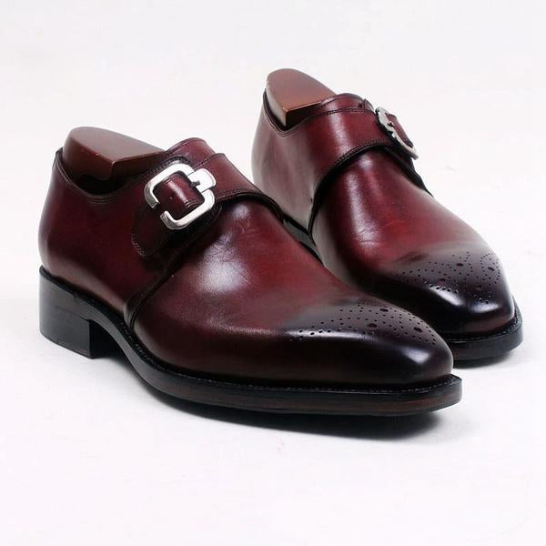 Dress Shoes - Square Toe Single Monk Leather Shoe