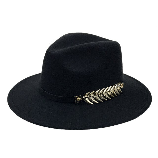 Women's Wide Brim Felt Hat Men Caps Vintage Top Hat