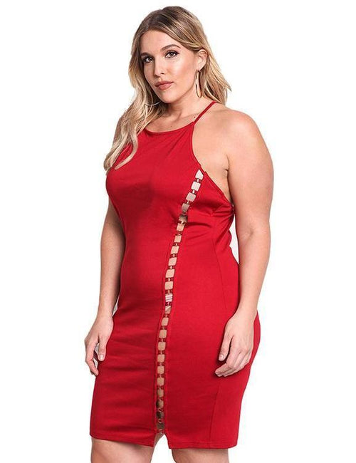 Backless Strap Plus Size Sleeveless Hollow Out Party Dress