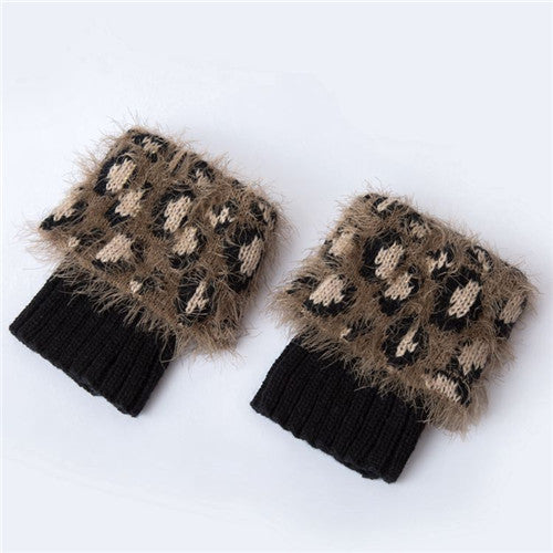 Women Crochet Leg Warmers Faux Fur Leopard Boot Socks