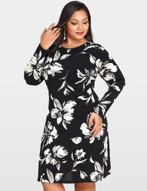 Floral Printed O-Neck Long Sleeve Loose Dress