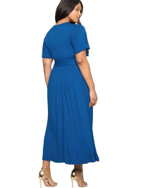 Belt Split Long Loose Maxi Dress