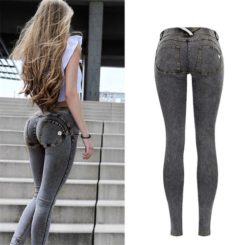 Woman Sexy Low Waist Elastic  Push Up Hip Skinny Denim Pant