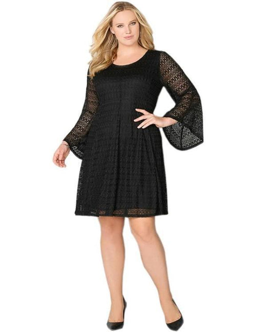 Flare Long Sleeve Lace Dress