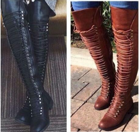 Boot - New Women's Lace Up Slim Over Knee High Boot