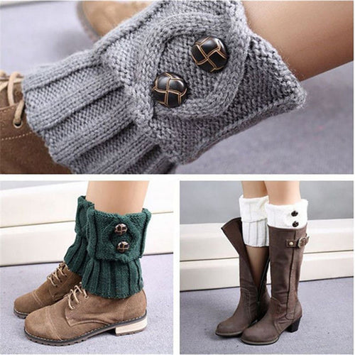 Women Winter Short Leg Warmers Fashion Button Crochet Knit Boot Socks