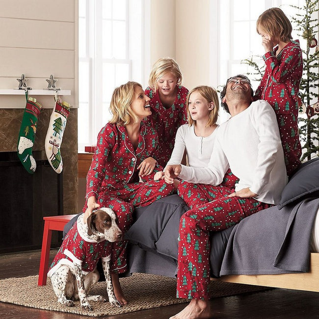 Family Set Christmas Trees Pajamas