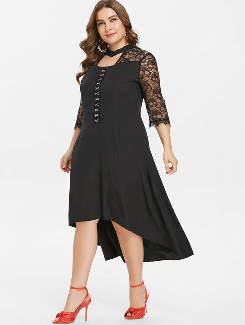 Balck Hook And Eye High Low Dress
