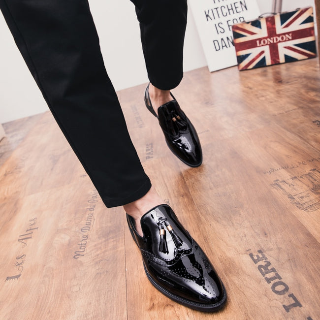 Tassel Pointed Formal Wedding Party Flat Men's Loafers