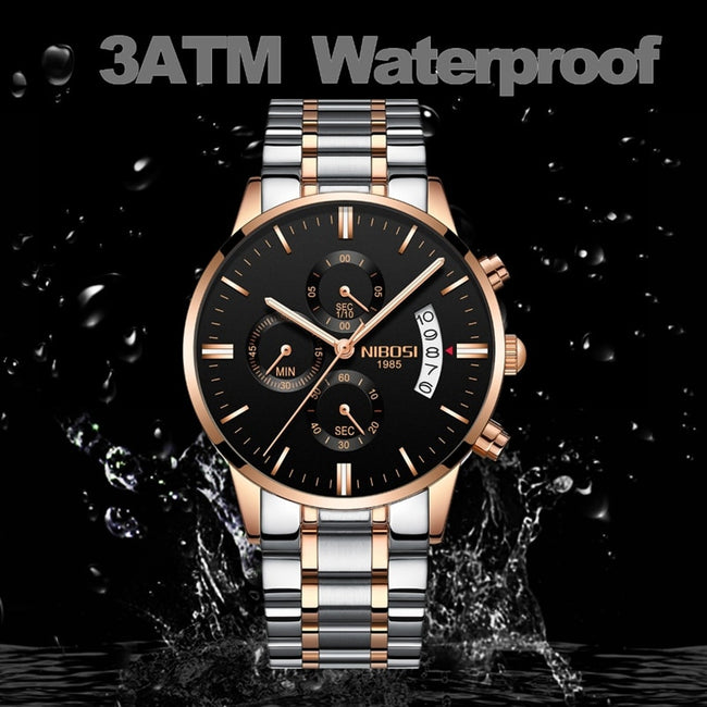Top Brand Luxury Waterproof Full Steel Quartz Gold Clock