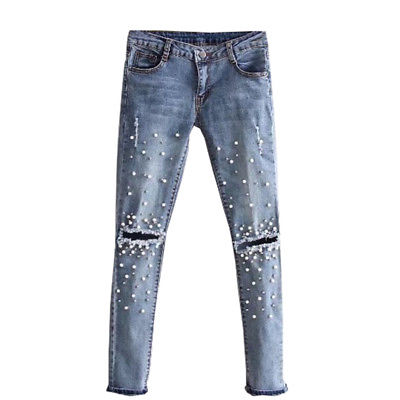 Women Fashion Destroyed Ripped pearled Slim Denim Pants