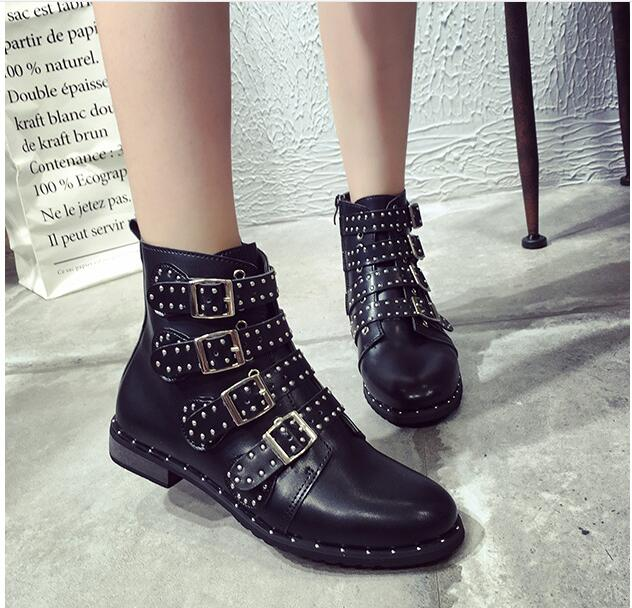 Rivets Buckle Straps Thick Heel  Women Ankle Boots