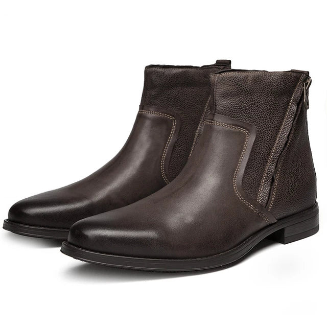 British Leather Pointed Toe Men's Chelsea Ankle Boots