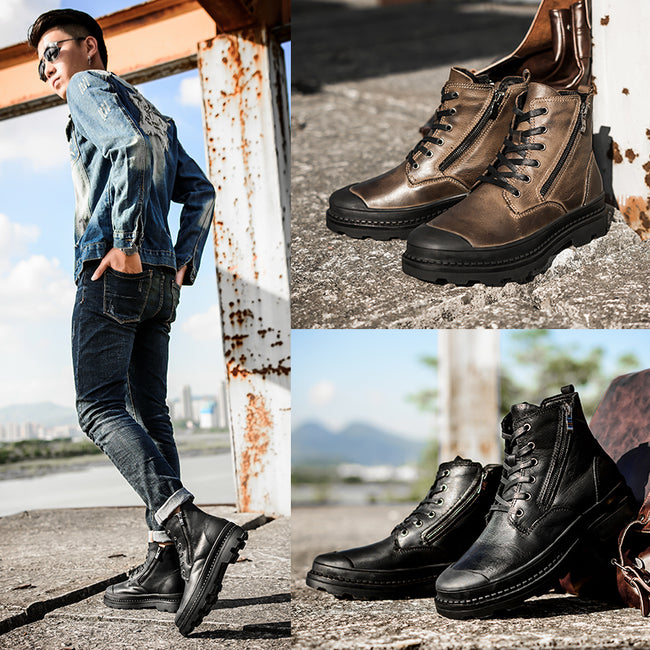 Handmade Retro Leather Men Warm Snow Boots