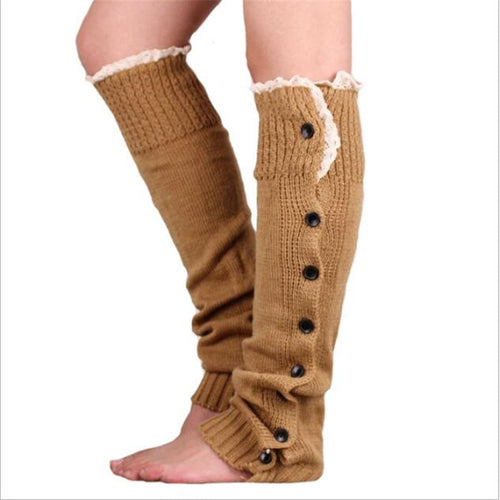 New Hot-sale Button Lace Women Boots Socks Cuffs