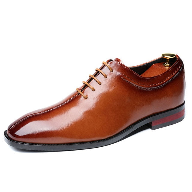 Business Office Lace-Up Men's Flat Party Leather  Shoes